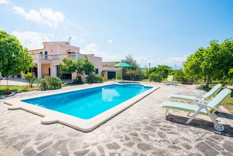 Charming house with private pool in Maria de la Salut, welcomes 4 people. This beautiful house has a private saltpool,with a size of 8m x 4m and a depth ranging between 1.3m and 1.8m, where you can relax on one of the 6 sunbeds surrounding the pool. ...