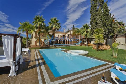Spain / Marbella Exclusive 14 bedroom, 14 bathroom villa with Mediterranean style on the outside and modern and elegant on the inside. It has 1300 m2 built on 1850 m2 of private land, on the Golden Mile just 120 m from the beach. 6 large rooms in Sui...