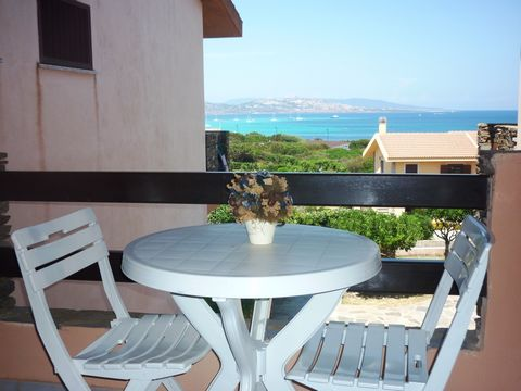 APARTMENT FACING THE SEA, convenient to the Pelosa beach. Inserted in the quiet residential village of Cala Rosa, it consists of living room with kitchenette and sofa bed, double bedroom and bathroom. The living room leads to a balcony with table and...