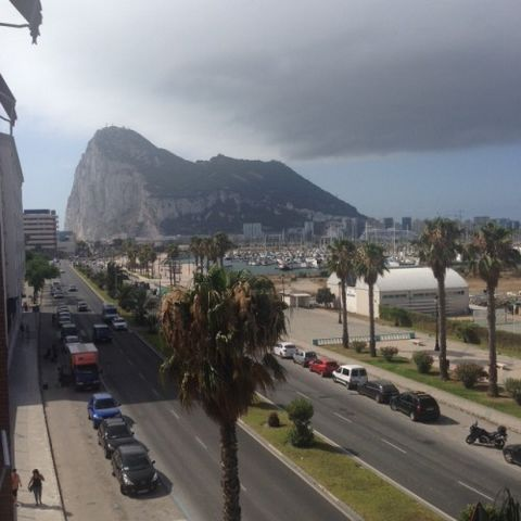 Av. as from June 2021. Amazing 4 bed converted to 3bed apartment converted to a large 3 bed with views towards the beach and Gibraltar. Electric boiler. West facing balcony andTerrace. Impressive views of the bay abf avenida España.